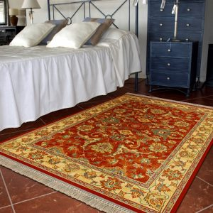 Alfombra clásica de lana tipo persa para salón, pasillos y estancias Persia 822 Granate
