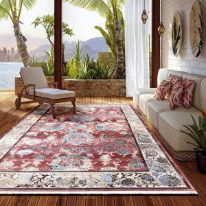 Alfombra clásica de lana para salón o pasillos Picasso 309 Coral