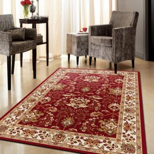 Alfombra de lana clásica para salón , pasillos, estancias espectacularBali 795 Granate