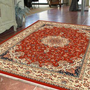 Alfombra clásica de lana para salón y pasillos Persia 868 Granate