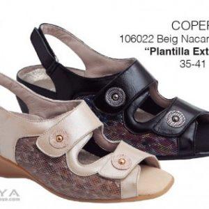 COPER, SANDALIA PIEL HECHA EN ESPAÑA,PLANTILLA EXTRAIBLE. Modelo: 106022 Beig y Negro. 35/41